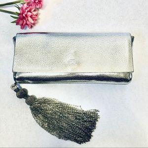 Anya Hindmarch Silver Leather Clutch w/ Tassel
